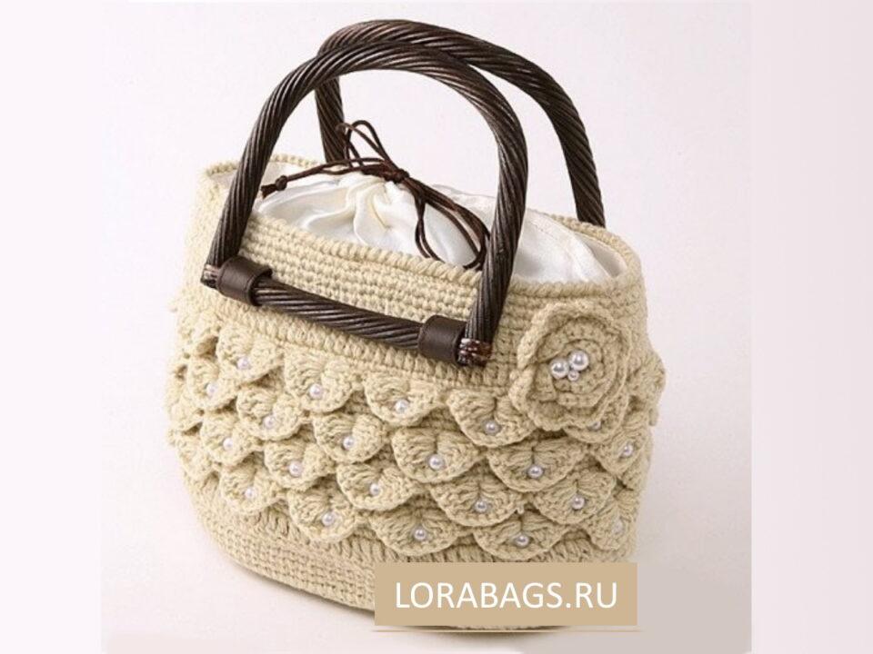 Вязаная сумка крючком с узором крокодил (чешуйки)