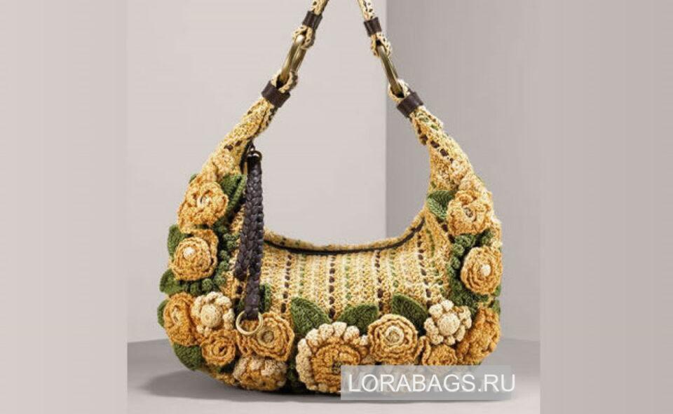 Вязаная сумка крючком с цветами