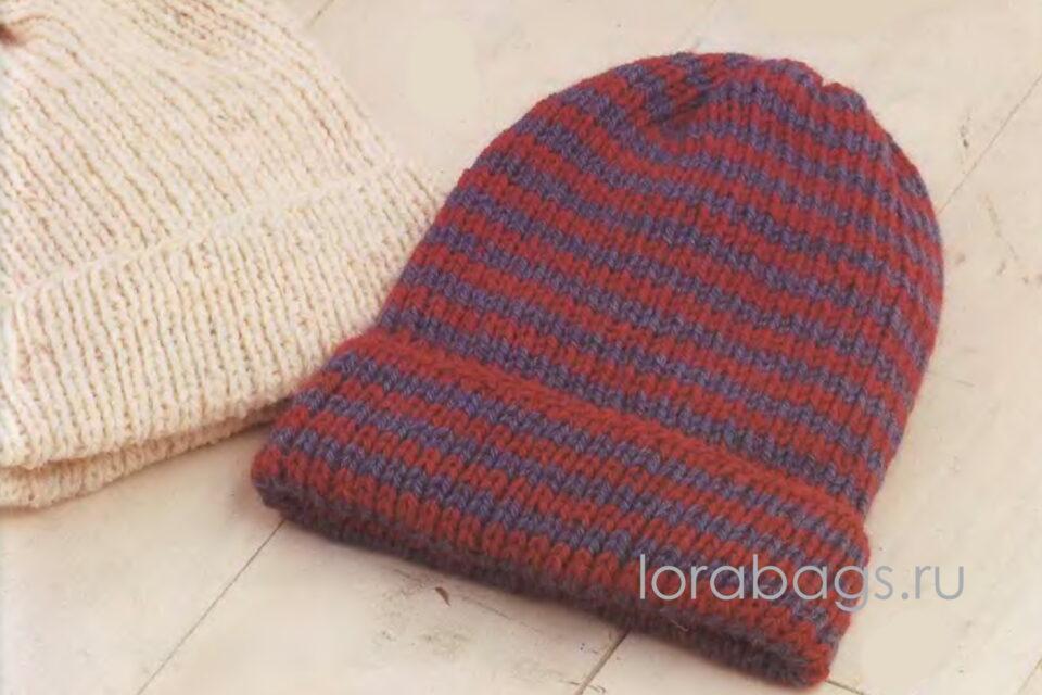 Классическая шапка вкруговую на трех спицах