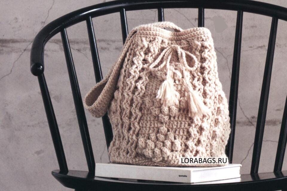 Вязаная сумка торба с шишечками