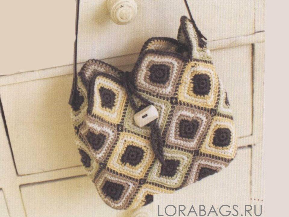 Летняя сумка крючком из цветных мотивов